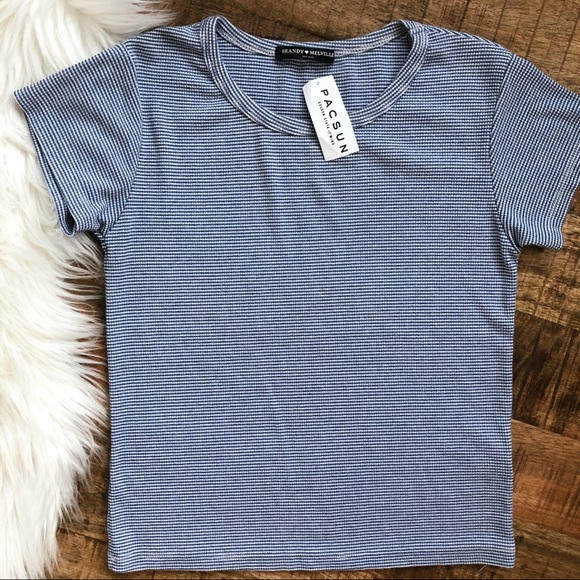 Brandy Melville Tee Blue and White Stripe